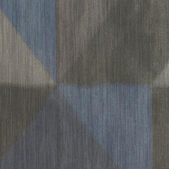 ポリエステル×幾何学模様(グレー&ブルー)×形状記憶タフタ_全2色