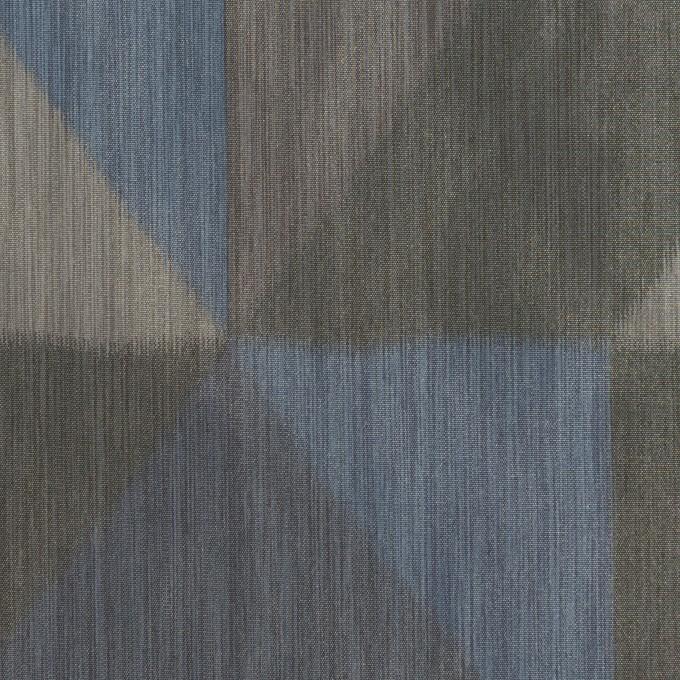 ポリエステル×幾何学模様(グレー&ブルー)×形状記憶タフタ_全2色 イメージ1