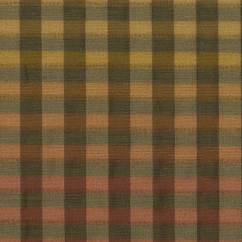 キュプラ&ナイロン×チェック(レンガ&カーキグリーン)×オーガンジー