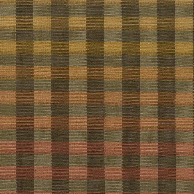 キュプラ&ナイロン×チェック(レンガ&カーキグリーン)×オーガンジー イメージ1