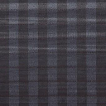 キュプラ&ナイロン×チェック(アッシュネイビー)×オーガンジー サムネイル1