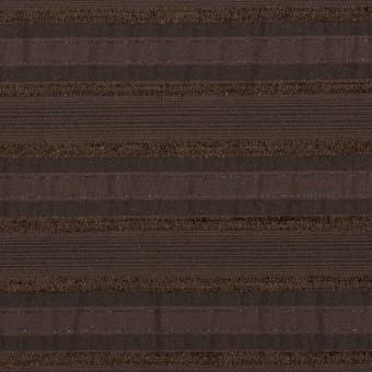 コットン&ナイロン混×ボーダー(ブラウン)×ジャガード・ストレッチ