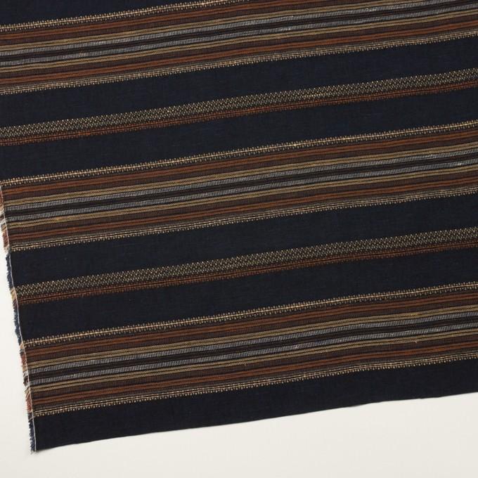 コットン&リネン混×ボーダー(ダークネイビー)×薄キャンバス・ジャガード_全2色 イメージ2