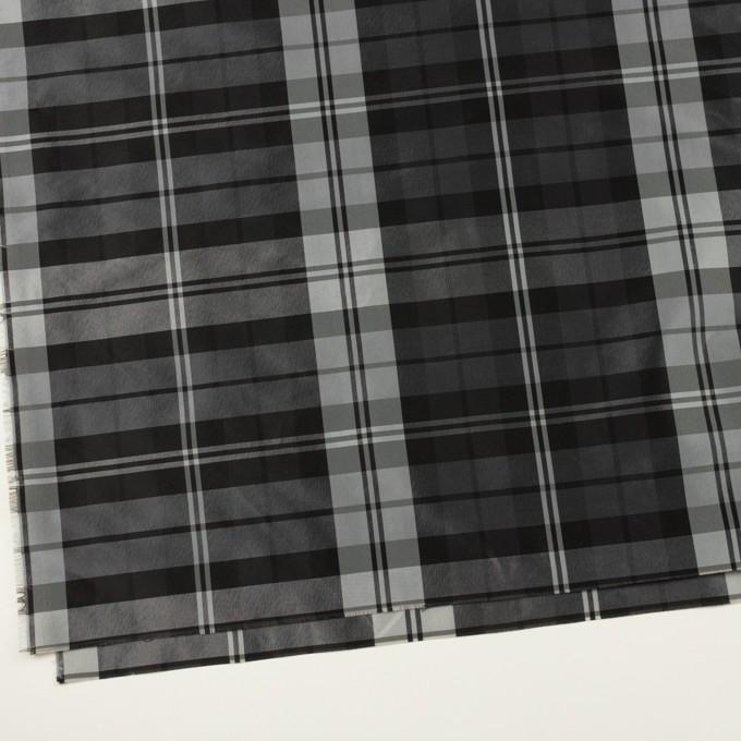 ナイロン&トリアセテート×チェック(シルバーグレー&ブラック)×形状記憶タフタ イメージ2