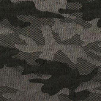 【150cmカット】コットン&ポリエステル混×迷彩(チャコールグレー)×サテンジャガード・ストレッチ_全2色