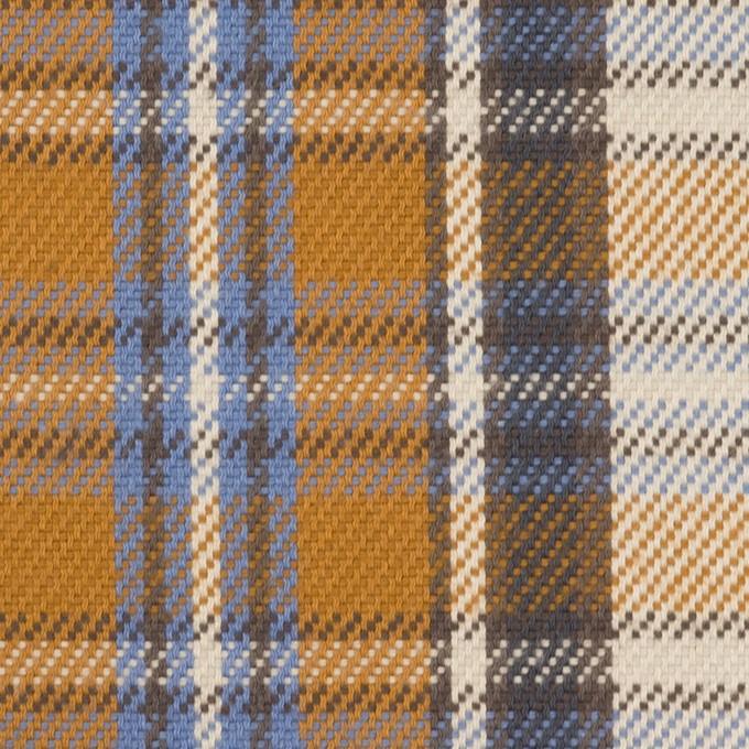 コットン×チェック(アイボリー&キャラメル)×斜子織 イメージ1
