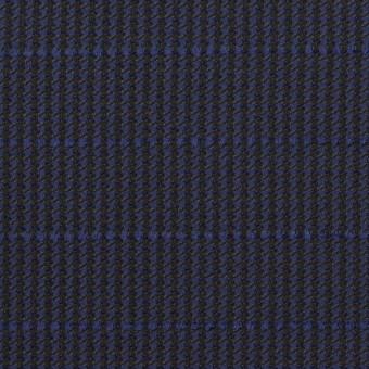 ウール&ポリウレタン×チェック&ボーダー(グレープ&ブラック)×千鳥格子ストレッチ_全2色_イタリア製