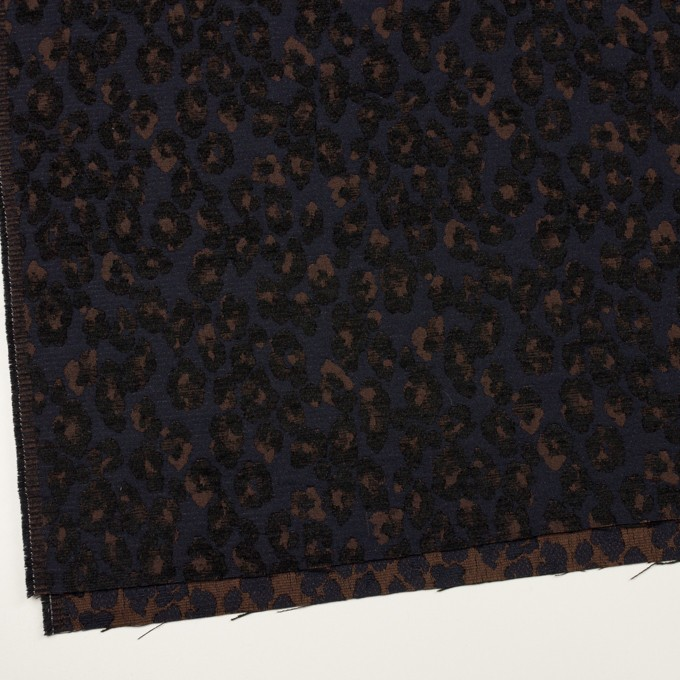 ポリエステル&ウール混×レオパード(ネイビー&ブラウン)×ジャガード イメージ2