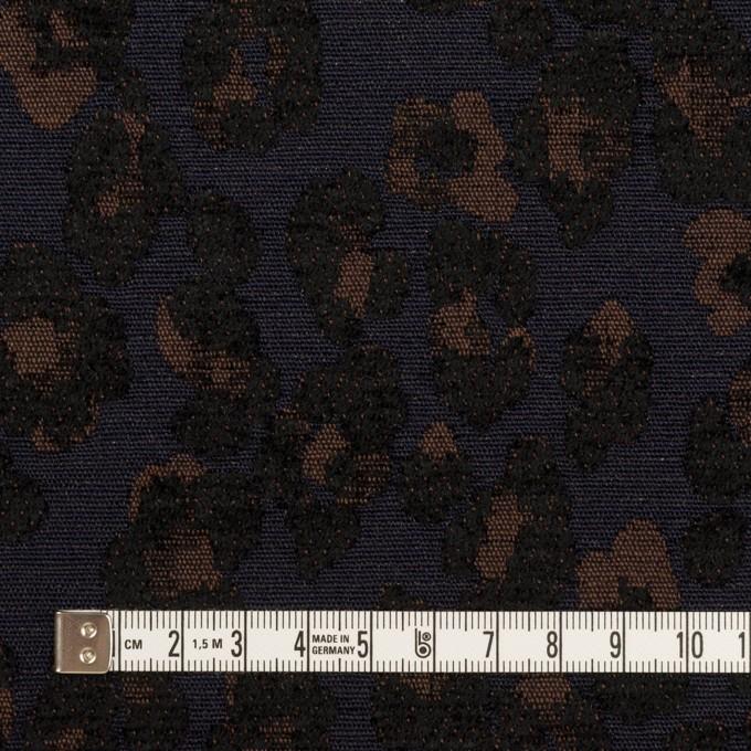 ポリエステル&ウール混×レオパード(ネイビー&ブラウン)×ジャガード イメージ4