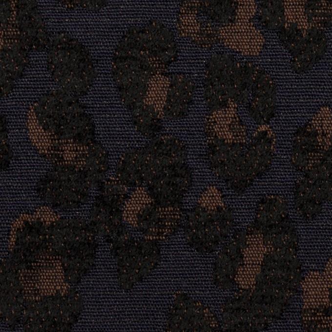 ポリエステル&ウール混×レオパード(ネイビー&ブラウン)×ジャガード イメージ1
