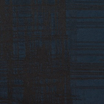 ポリエステル×チェック(ネイビー&ブラック)×形状記憶タフタジャガード サムネイル1