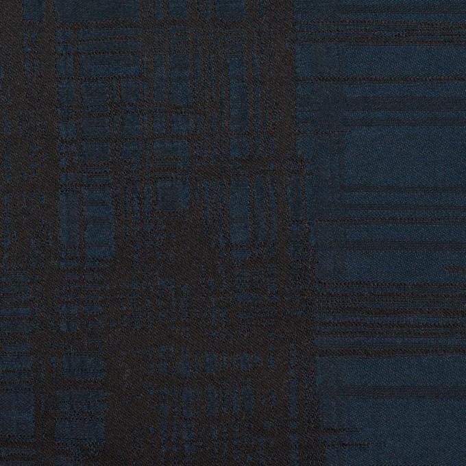 ポリエステル×チェック(ネイビー&ブラック)×形状記憶タフタジャガード イメージ1