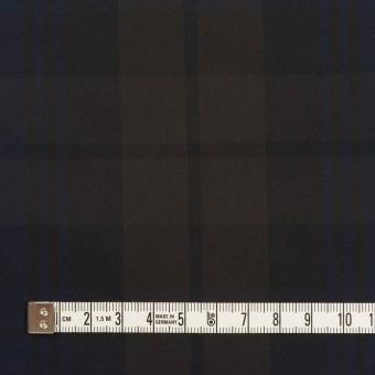 ポリエステル×チェック(ネイビー&ブラウン)×形状記憶タフタ サムネイル4