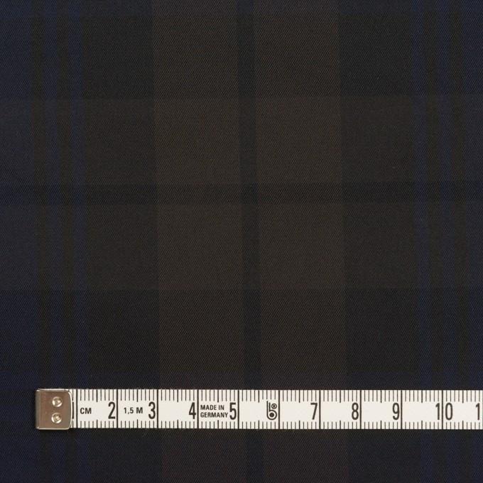 ポリエステル×チェック(ネイビー&ブラウン)×形状記憶タフタ イメージ4