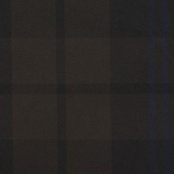 ポリエステル×チェック(ネイビー&ブラウン)×形状記憶タフタ