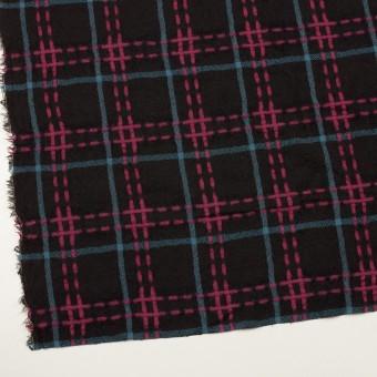 ウール×チェック(ブラック、チェリー&ブルーグレー)×ガーゼ サムネイル2