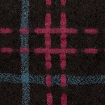 ウール×チェック(ブラック、チェリー&ブルーグレー)×ガーゼ サムネイル1