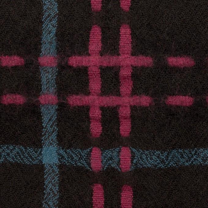 ウール×チェック(ブラック、チェリー&ブルーグレー)×ガーゼ イメージ1