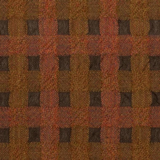 ウール&ポリエステル×チェック(レンガ&ブラウン)×ガーゼ イメージ1