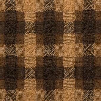 【150cmカット】ウール&ポリエステル×チェック(ベージュ&ブラウン)×ガーゼ