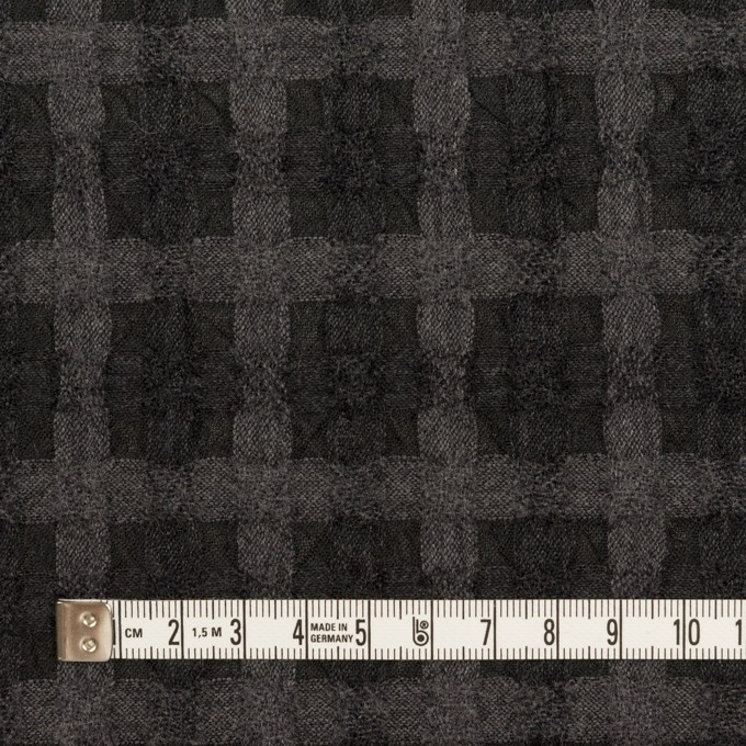 ウール&ポリエステル×チェック(グレー&チャコール)×ガーゼ イメージ4