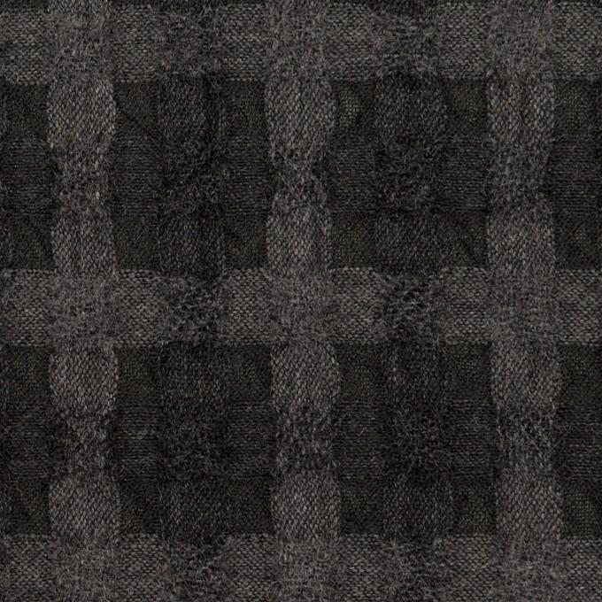 ウール&ポリエステル×チェック(グレー&チャコール)×ガーゼ イメージ1