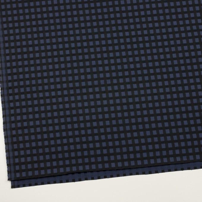 ポリエステル&レーヨン混×チェック(プルシアンブルー&ブラック)×サージストレッチ イメージ2