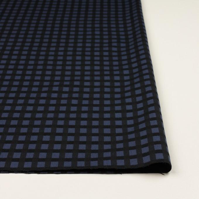 ポリエステル&レーヨン混×チェック(プルシアンブルー&ブラック)×サージストレッチ イメージ3