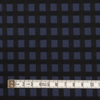 ポリエステル&レーヨン混×チェック(プルシアンブルー&ブラック)×サージストレッチ サムネイル4