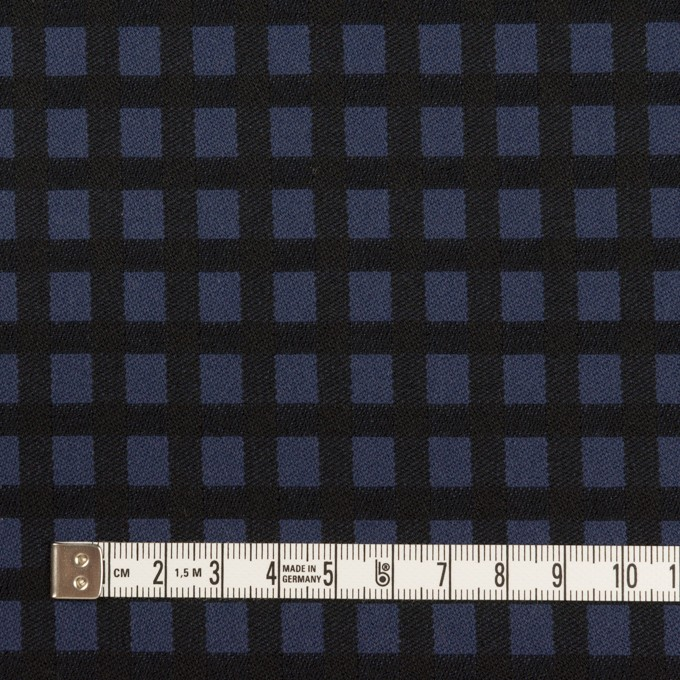 ポリエステル&レーヨン混×チェック(プルシアンブルー&ブラック)×サージストレッチ イメージ4