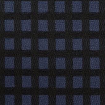 ポリエステル&レーヨン混×チェック(プルシアンブルー&ブラック)×サージストレッチ サムネイル1