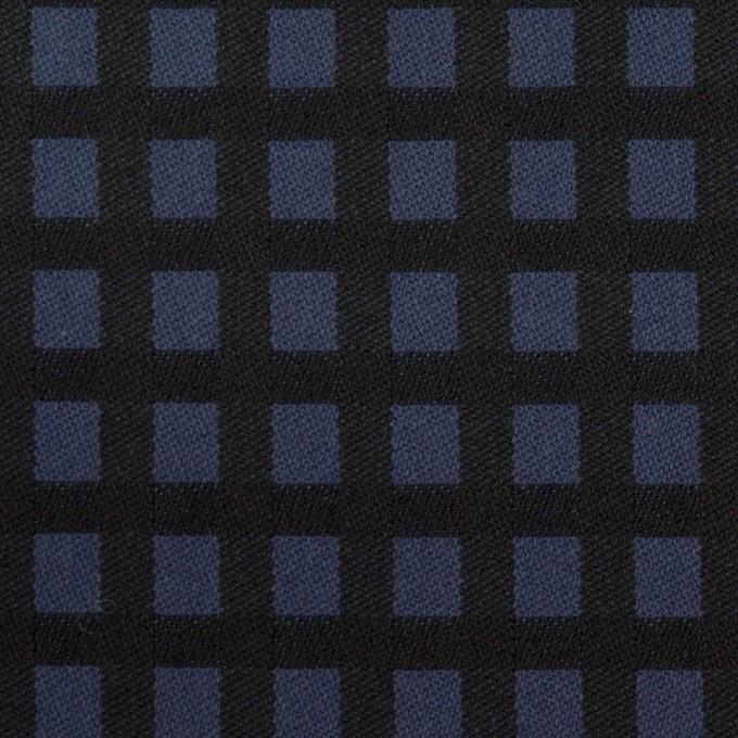 ポリエステル&レーヨン混×チェック(プルシアンブルー&ブラック)×サージストレッチ イメージ1