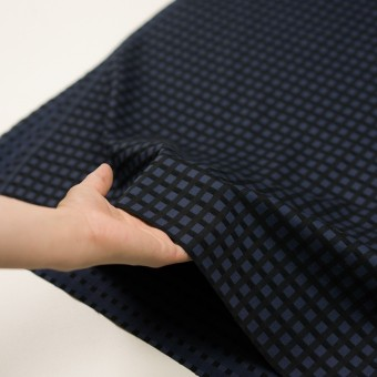 ポリエステル&レーヨン混×チェック(プルシアンブルー&ブラック)×サージストレッチ サムネイル5
