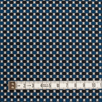 ポリエステル&ポリウレタン×小紋(マリンブルー&ブラック)×ジャガード・ストレッチ サムネイル4