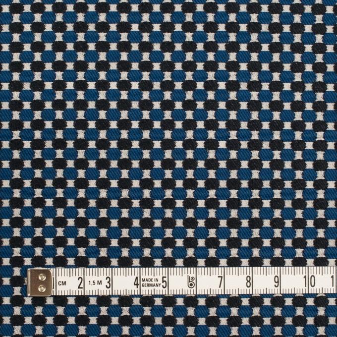 ポリエステル&ポリウレタン×小紋(マリンブルー&ブラック)×ジャガード・ストレッチ イメージ4