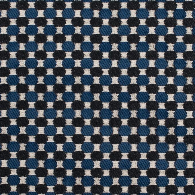 ポリエステル&ポリウレタン×小紋(マリンブルー&ブラック)×ジャガード・ストレッチ イメージ1