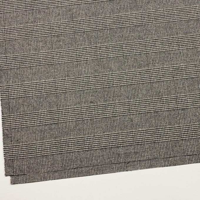 ウール&ポリエステル混×チェック(アイボリー&ブラック)×ツイードストレッチ イメージ2