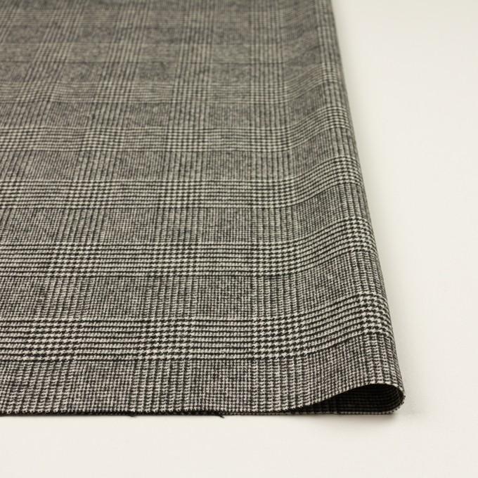 ウール&ポリエステル混×チェック(アイボリー&ブラック)×ツイードストレッチ イメージ3