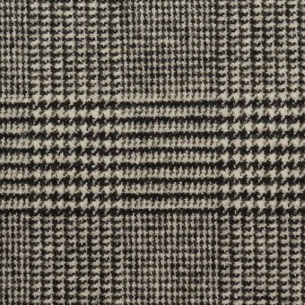 ウール&ポリエステル混×チェック(アイボリー&ブラック)×ツイードストレッチ