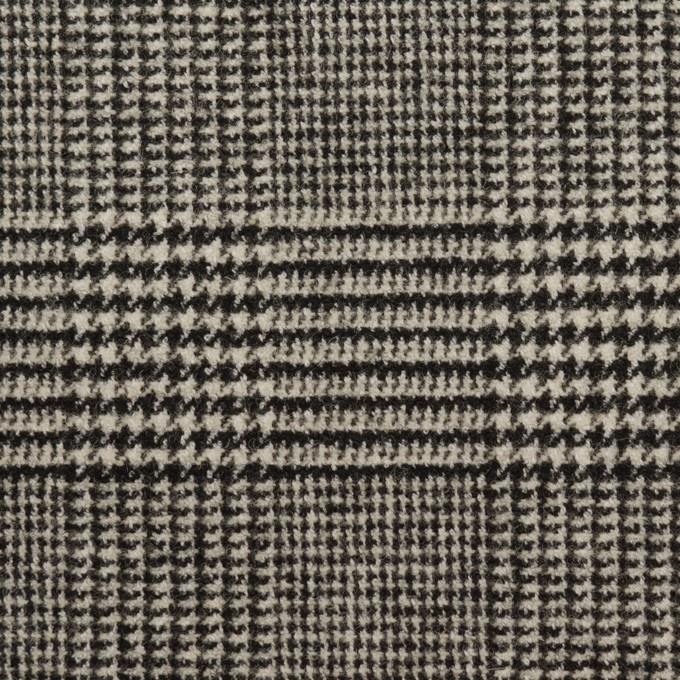 ウール&ポリエステル混×チェック(アイボリー&ブラック)×ツイードストレッチ イメージ1