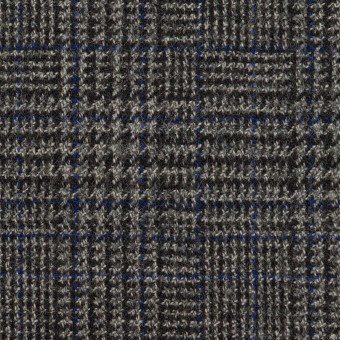 ウール&ポリウレタン×チェック(チャコールグレー)×ツイードストレッチ サムネイル1