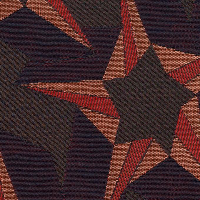 ポリエステル&コットン×幾何学模様(アプリコット&ネイビー)×フクレジャガード イメージ1