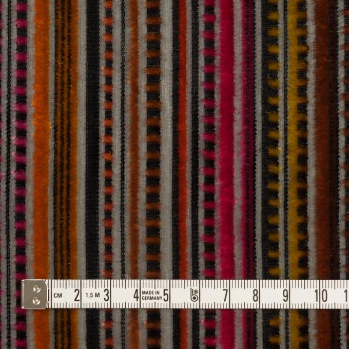 レーヨン&ポリエステル×ストライプ(オレンジ&チェリー)×オパールベルベット_全2色_フランス製 イメージ4