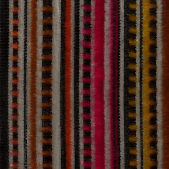 レーヨン&ポリエステル×ストライプ(オレンジ&チェリー)×オパールベルベット_全2色_フランス製 サムネイル1