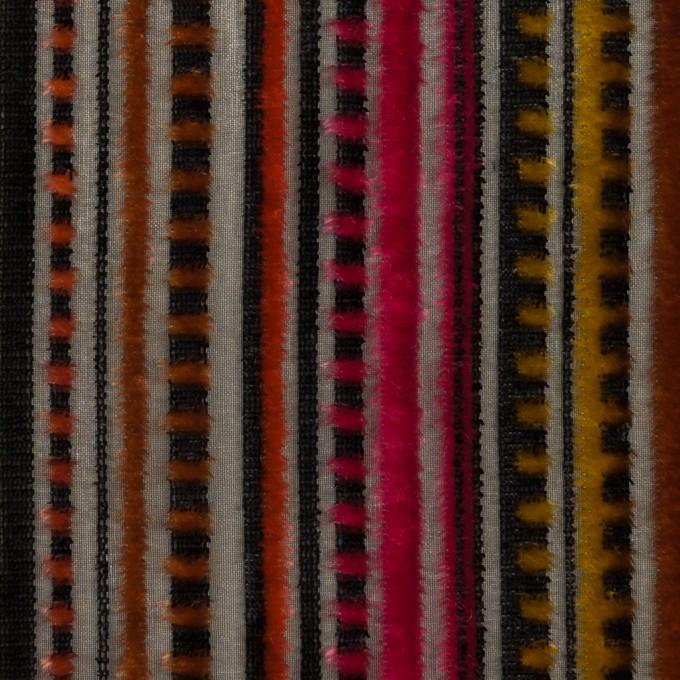 レーヨン&ポリエステル×ストライプ(オレンジ&チェリー)×オパールベルベット_全2色_フランス製 イメージ1