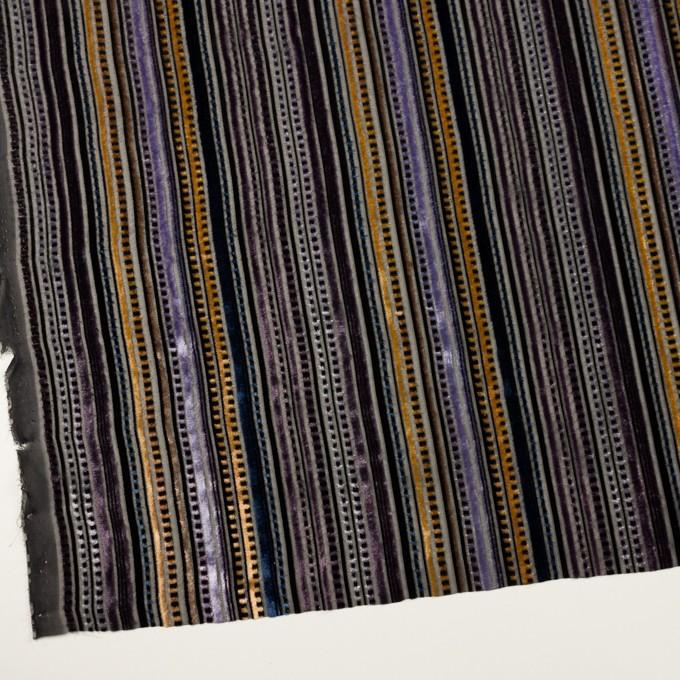 レーヨン&ポリエステル×ストライプ(バイオレット&ネイビー)×オパールベルベット_全2色_フランス製 イメージ2