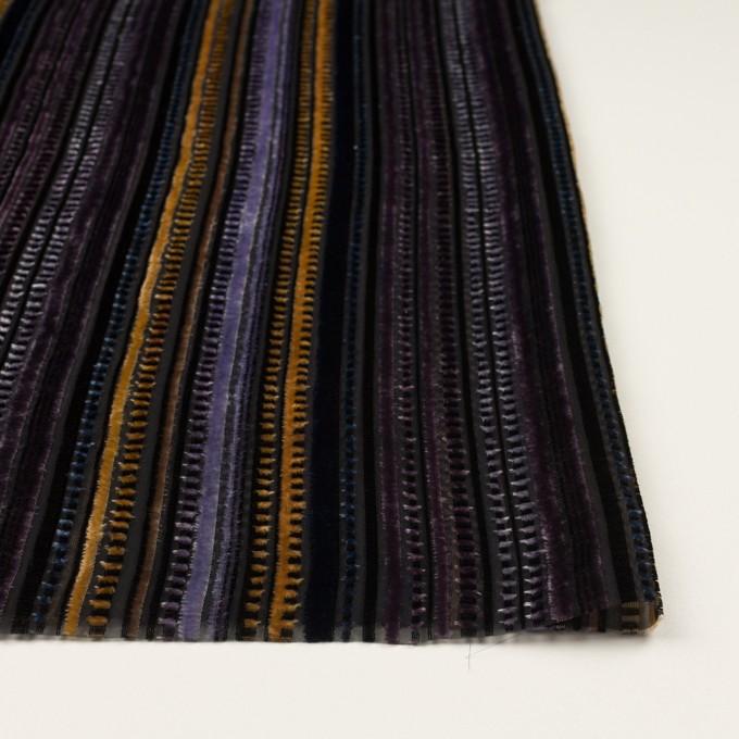 レーヨン&ポリエステル×ストライプ(バイオレット&ネイビー)×オパールベルベット_全2色_フランス製 イメージ3