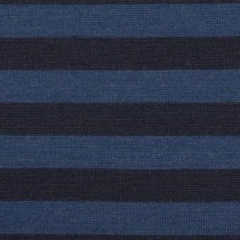 ウール×ボーダー(マリンブルー&ブラック)×天竺ニット_全2色