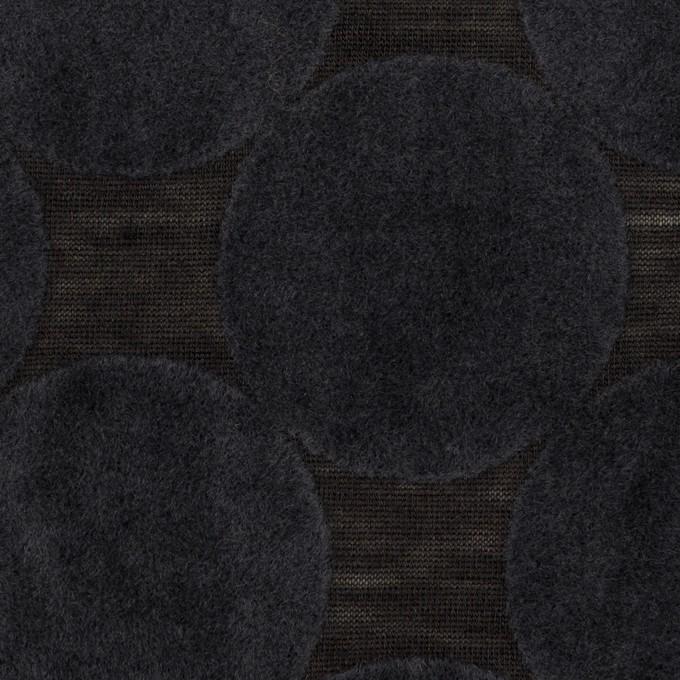 ウール&ポリエステル×サークル(アッシュネイビー&ブラック)×天竺ニット_フロッキー_全2色 イメージ1