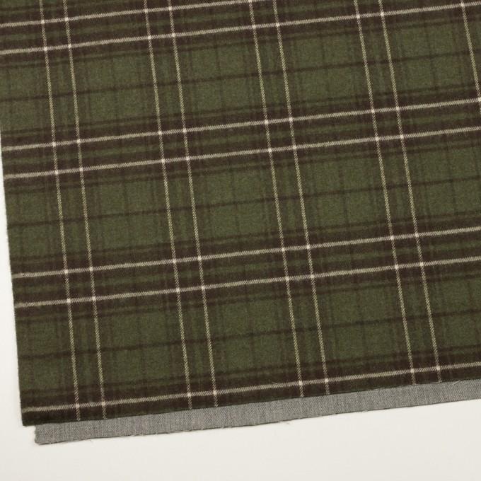 ウール×無地&チェック(グレー&カーキグリーン)×Wフェイスサージ イメージ2